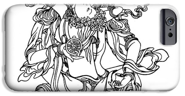 Buddhism Drawings iPhone Cases - Vajrasatva and Consort iPhone Case by Karma Moffett