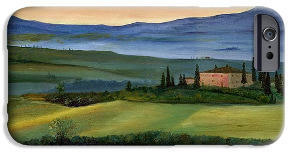 Italian Landscapes Paintings iPhone Cases - Val d iPhone Case by Cecilia  Brendel