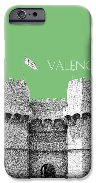 Pen And Ink iPhone Cases - Valencia Skyline Serrano Towers - Apple iPhone Case by DB Artist