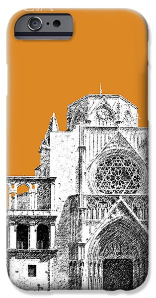 Pen And Ink iPhone Cases - Valencia Skyline Valencia Cathedral - Dark Orange iPhone Case by DB Artist