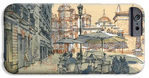 Buildings Mixed Media iPhone Cases - Valencia. View of the Cathedral iPhone Case by Olga Sorokina