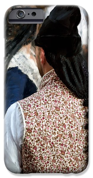 Historic Site iPhone Cases - Valencian couple in traditional dresses. iPhone Case by Juan Carlos Ferro Duque