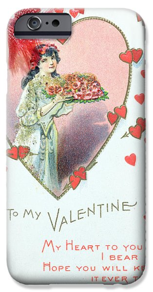 Wwi Drawings iPhone Cases - Valentine Card iPhone Case by English School