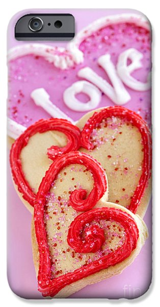 Cookie iPhone Cases - Valentine hearts iPhone Case by Elena Elisseeva