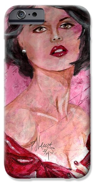 Beautiful Faces Paintings iPhone Cases - Valentine iPhone Case by P J Lewis