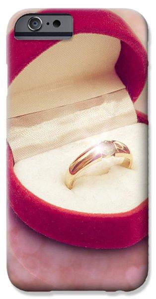 Jewellery Digital Art iPhone Cases - Valentine Ring iPhone Case by Wim Lanclus