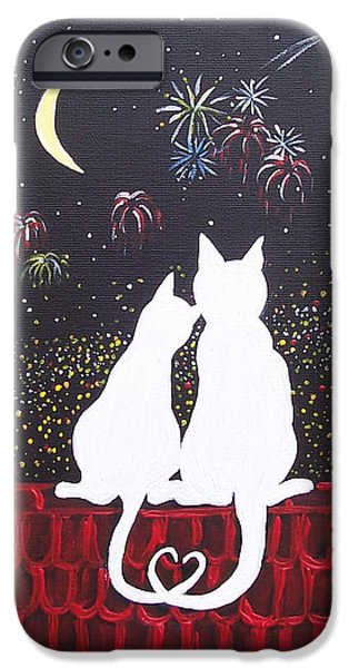 4th July Paintings iPhone Cases - Love in Paris iPhone Case by Nathalie Sorensson