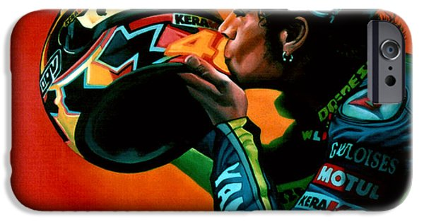 Sports Paintings iPhone Cases - Valentino Rossi portrait iPhone Case by Paul  Meijering