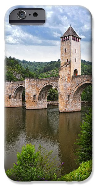 River iPhone Cases - Valentre bridge in Cahors France iPhone Case by Elena Elisseeva