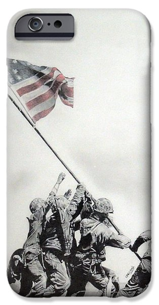 American Flag Drawings iPhone Cases - Valiant iPhone Case by Erica Raymond