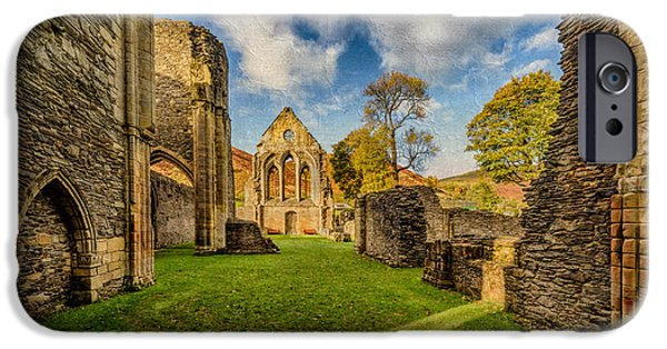 Fall Grass iPhone Cases - Valle Crucis Abbey Ruins iPhone Case by Adrian Evans