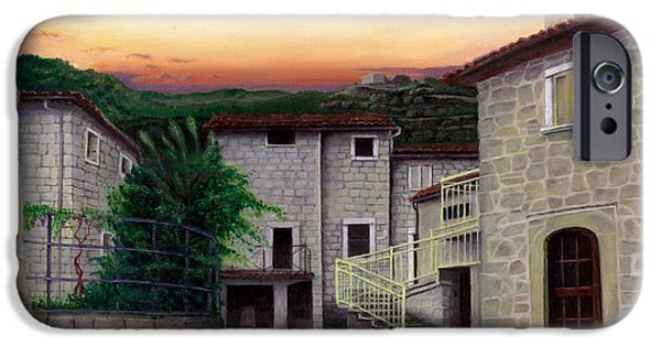 Tuscan Sunset Paintings iPhone Cases - Vallecchia de Monte Calvo iPhone Case by Albert Puskaric