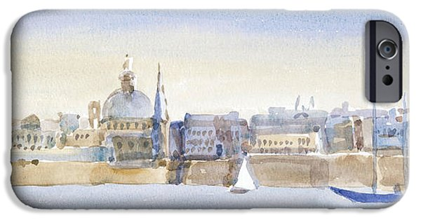 Maltese iPhone Cases - Valletta Skyline, 2011 Wc On Paper iPhone Case by Lucy Willis