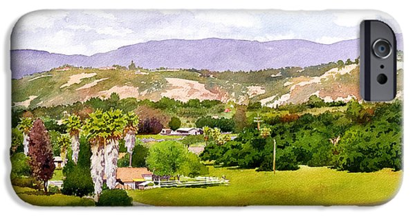 Nature Center Paintings iPhone Cases - Valley Center California iPhone Case by Mary Helmreich
