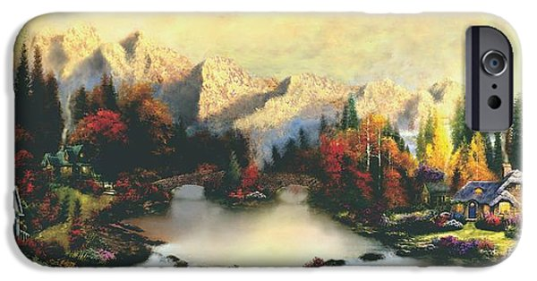 Log Cabin Mixed Media iPhone Cases - Valley of Life  Thomas Kinkade Look a like iPhone Case by Jessie J De La Portillo