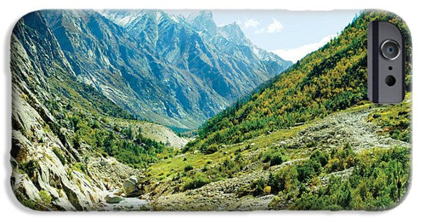 People Pyrography iPhone Cases - Valley of river Ganga in Himalyas mountain iPhone Case by Raimond Klavins