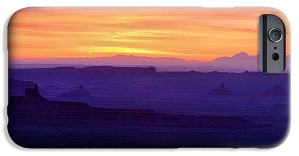 Nation iPhone Cases - Valley of the Gods Sunrise Utah Four Corners Monument valley iPhone Case by Silvio Ligutti