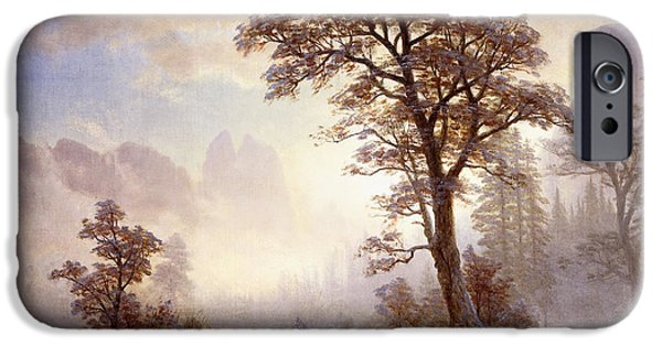 Snowy Day iPhone Cases - Valley of the Yosemite Snow Fall iPhone Case by Albert Bierstadt