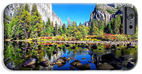 Blue Sky Reflection iPhone Cases - Valley View Reflection Yosemite National Park iPhone Case by Scott McGuire