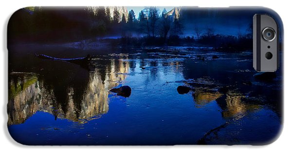 Blue Sky Reflection iPhone Cases - Valley View Yosemite National Park Reflection iPhone Case by Scott McGuire
