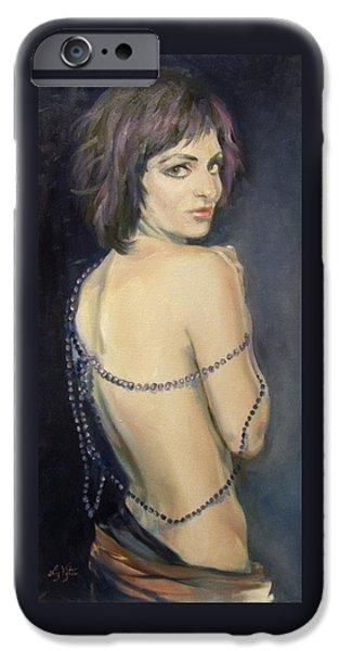 Mardi Gras Paintings iPhone Cases - Vamp iPhone Case by Liz Viztes