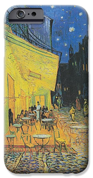 Beach At Night iPhone Cases - Van Gogh Cafe Terrace at Night 1888 iPhone Case by Movie Poster Prints