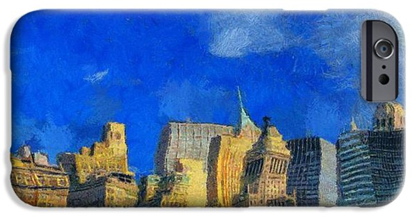 Buildings Mixed Media iPhone Cases - Van Gogh Meets Manhattan iPhone Case by Dan Sproul