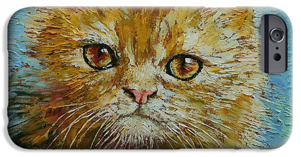 Orange Tabby iPhone Cases - Van Gogh iPhone Case by Michael Creese