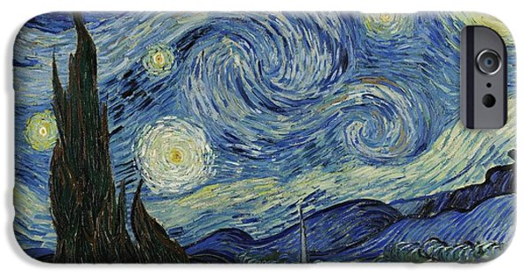 Business Paintings iPhone Cases - Van Gogh The Starry Night iPhone Case by Movie Poster Prints