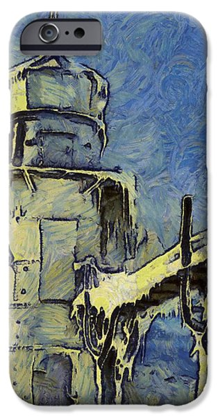 Snowy Mixed Media iPhone Cases - Van Goghs Frozen Lighthouse iPhone Case by Dan Sproul