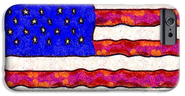 July 4th iPhone Cases - Van Gogh.s Starry American Flag . Square iPhone Case by Wingsdomain Art and Photography