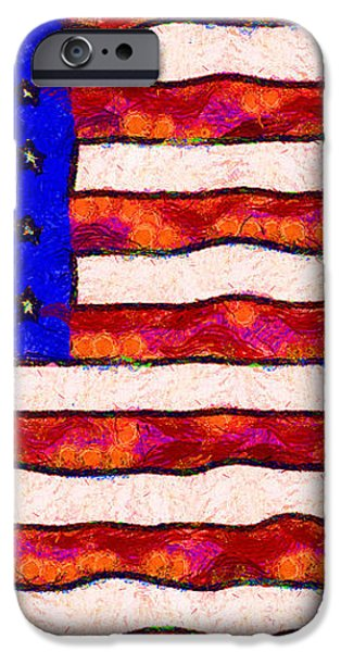 Van Gogh.s Starry American Flag iPhone Case by Wingsdomain Art and Photography