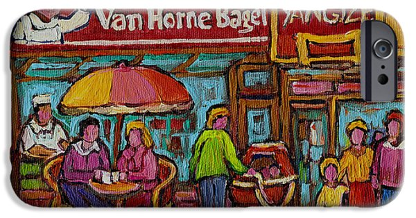 Montreal Memories. iPhone Cases - Van Horne Bagel With Yangtze Restaurant Montreal Street Scene iPhone Case by Carole Spandau