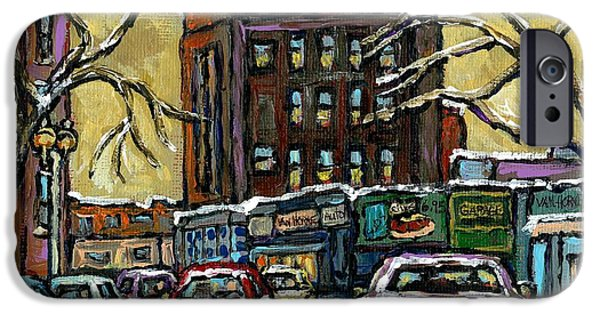 Outremont iPhone Cases - Van Horne Corner Ave Du Parc On The Road Again Montreal Cars In January City Life Paintings Cspandau iPhone Case by Carole Spandau