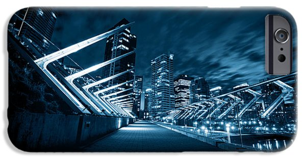 Tron iPhone Cases - Vancouver at Night iPhone Case by Alex Land