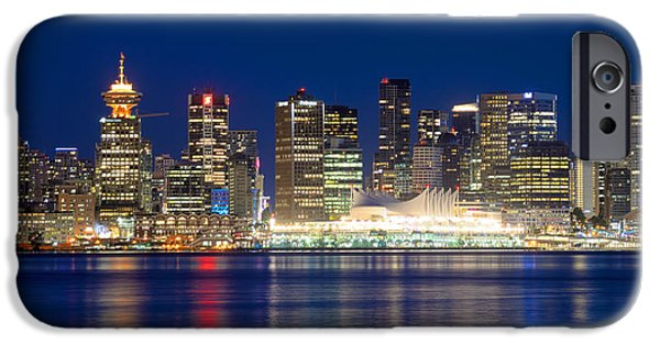 Burrard Inlet iPhone Cases - Vancouver Bc Evening Skyline iPhone Case by Terry Elniski