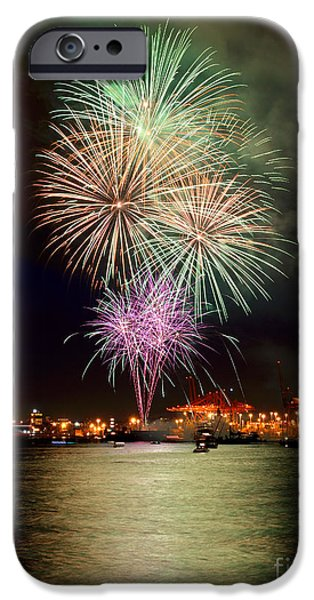 Burrard Inlet iPhone Cases - Vancouver Canada Day Fireworks 2014 - 2 iPhone Case by Terry Elniski