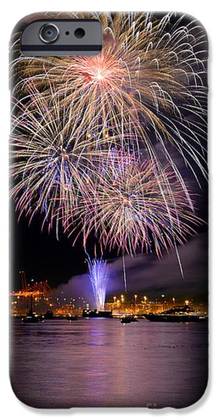 Burrard Inlet iPhone Cases - Vancouver Canada Day Fireworks 2014 - 4 iPhone Case by Terry Elniski