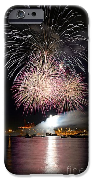 Burrard Inlet iPhone Cases - Vancouver Canada Day Fireworks 2014 - 5 iPhone Case by Terry Elniski