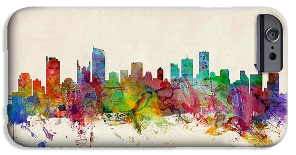 British Digital Art iPhone Cases - Vancouver Canada Skyline iPhone Case by Michael Tompsett