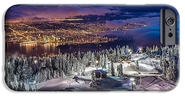 Vancouver Photographs iPhone Cases - Vancouver City panorama from Grouse Mountain  iPhone Case by Pierre Leclerc Photography