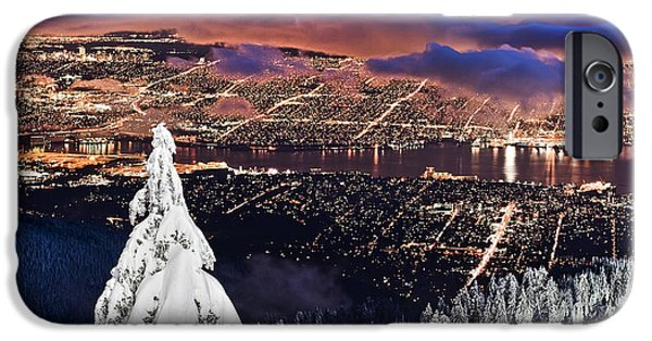The Best Sunset iPhone Cases - Vancouver City twilight from Grouse Mountain iPhone Case by Pierre Leclerc Photography