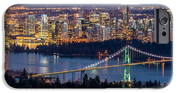 Burrard Inlet iPhone Cases - Vancouver city with Lions gate bridge at twilight iPhone Case by Pierre Leclerc Photography