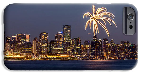 Fireworks iPhone Cases - Vancouver panorama fireworks iPhone Case by Pierre Leclerc Photography