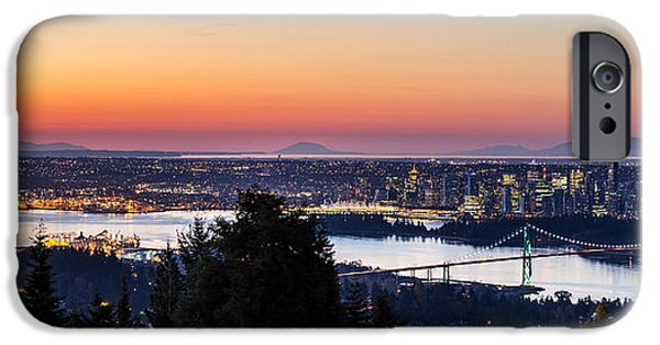 Burrard Inlet iPhone Cases - Vancouver Sunrise British Columbia iPhone Case by Pierre Leclerc Photography