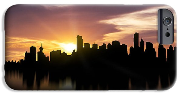 Stanley Park iPhone Cases - Vancouver Sunset Skyline  iPhone Case by Aged Pixel