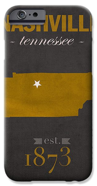 Nashville Tennessee iPhone Cases - Vanderbilt University Commodores Nashville Tennessee College Town State Map Poster Series No 118 iPhone Case by Design Turnpike