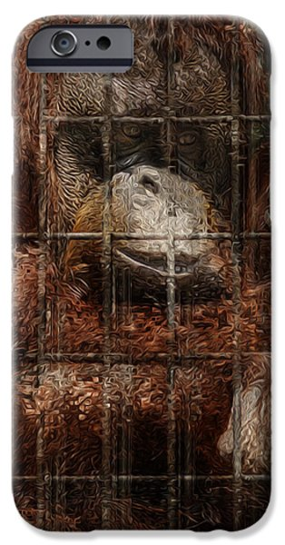 Orangutan Digital Art iPhone Cases - Vanishing Cage iPhone Case by Jack Zulli
