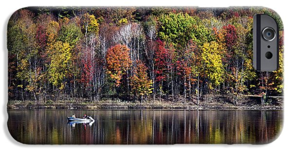 Fall Scenes iPhone Cases - Vanishing Autumn Reflection Landscape iPhone Case by Christina Rollo