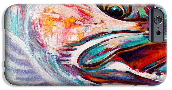Abstract Expressionist iPhone Cases - Vanishing Native - Steelhead Trout Flyfishing Art iPhone Case by Mike Savlen